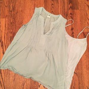 Women's Light Blue Sleeveless Shirt and Cami